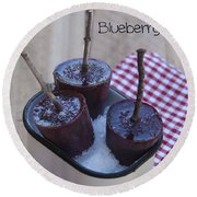 Blueberry Popsicles Round Beach Towel