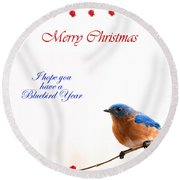 Bluebird Christmas Card Round Beach Towel