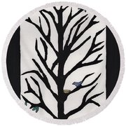 Bluebird In A Pear Tree Round Beach Towel
