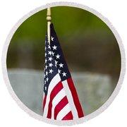 Bluebird Perched On American Flag Round Beach Towel