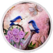 Bluebirds And Butterflies Round Beach Towel
