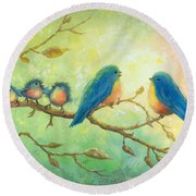 Bluebirds On Branches Round Beach Towel
