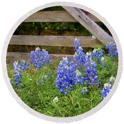 Bluebonnet Gate Round Beach Towel
