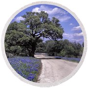 Bluebonnet Road Round Beach Towel