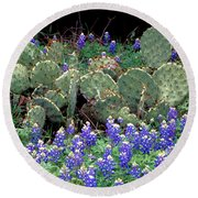 Bluebonnets And Cacti Round Beach Towel