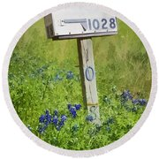 Bluebonnets And Mailbox Round Beach Towel