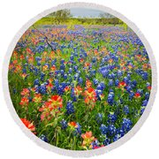 Bluebonnets And Prarie Fire Round Beach Towel