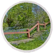 Bluebonnets And Stairs Round Beach Towel