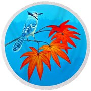 Bluejay In The Fall 2 Round Beach Towel
