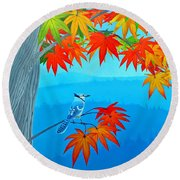 Bluejay In The Fall Round Beach Towel