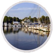 Bluer Than Blue    Painted Round Beach Towel