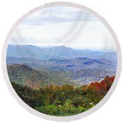 Blueridge Parkway View 2 At Mm 404  Round Beach Towel