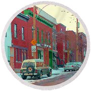 Blues And Brick Houses Winter Street Suburban Scenes The Point Sud Ouest Montreal Art Carole Spandau Round Beach Towel