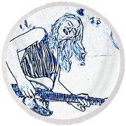 Blues In Blue Round Beach Towel