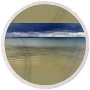 Beautiful Blues Over Mackinac Island  Round Beach Towel