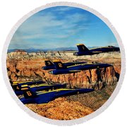 Blues Over Zion Round Beach Towel by Benjamin Yeager