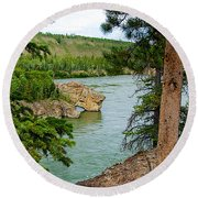 Bluff Over The River In Five Finger Rapids Recreation Site Along Klondike Hwy-yt  Round Beach Towel
