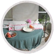 Blur Bottle And Peony And Background Round Beach Towel