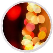Blurred Christmas Lights Round Beach Towel