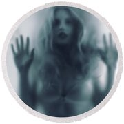 Blurred Young Woman Silhouette Behind Glass Round Beach Towel