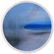 Blurring The Lines Of Reality Round Beach Towel