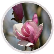 Blushing Magnolia Round Beach Towel