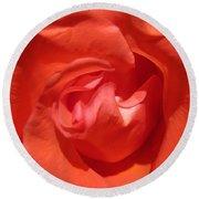 Blushing Orange Rose 5 Round Beach Towel