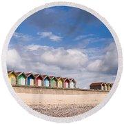 Blyth Beach Huts Round Beach Towel