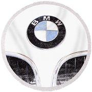 Bmw Z3 Emblem Sketch Round Beach Towel