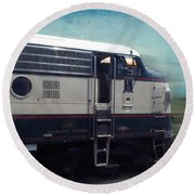 Bn F9 Train Engine Textured Round Beach Towel