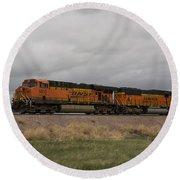 Bnsf Train 5833 A Round Beach Towel