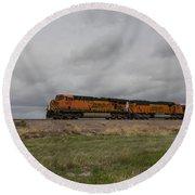 Bnsf Train 5833 B Round Beach Towel