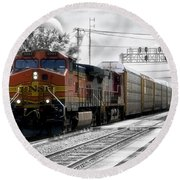 Bnsf Train Round Beach Towel