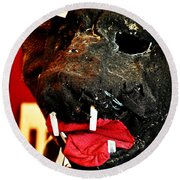 Boar Mask Round Beach Towel