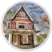 Boarded Up Old Characer Home Watercolor Round Beach Towel