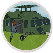 Boarding A Helicopter Round Beach Towel