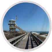Boardwalk At Ponce Round Beach Towel