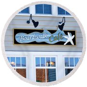 Boardwalk Cafe Round Beach Towel