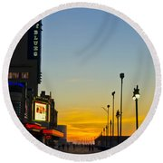 Boardwalk House Of Blues At Sunrise Round Beach Towel