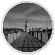 Boardwalk Lighthouse 1 Round Beach Towel