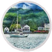 Boat - A Good Day To Sail Round Beach Towel