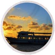 Boat At Sunrise Round Beach Towel