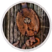 Boat - Block And Tackle Round Beach Towel