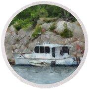 Boat Break Round Beach Towel