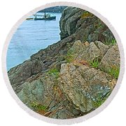 Boat By East Quoddy Bay On Campobello Island-nb Round Beach Towel