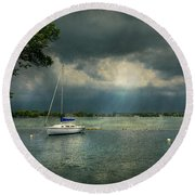 Boat - Canandaigua Ny - Tranquility Before The Storm Round Beach Towel