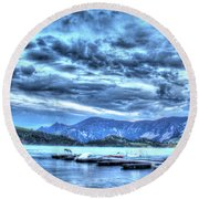 Boat Dock At Holter Lake Round Beach Towel