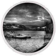 Boat Dock At Sperry Chalet 2 Round Beach Towel