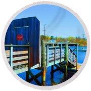 Boat Dock In Rhode Island Round Beach Towel