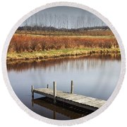 Boat Dock On A Pond In South West Michigan Round Beach Towel